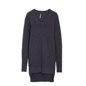 Free People Sunday V-Neck Sweater Small Gray NEW